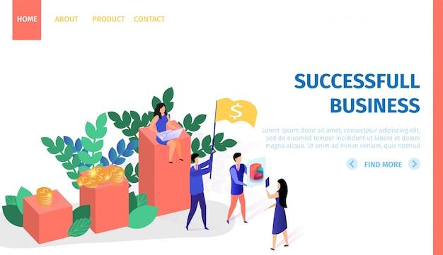 Bannière horizontale de gens d'affaires qui travaillent avec succès