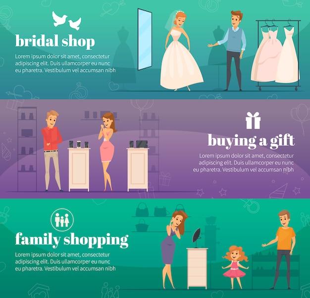 Bannière horizontale de gens plats essayant trois magasins horizontaux sertie de boutique de mariée achetant un cadeau et des descriptions de shopping en famille