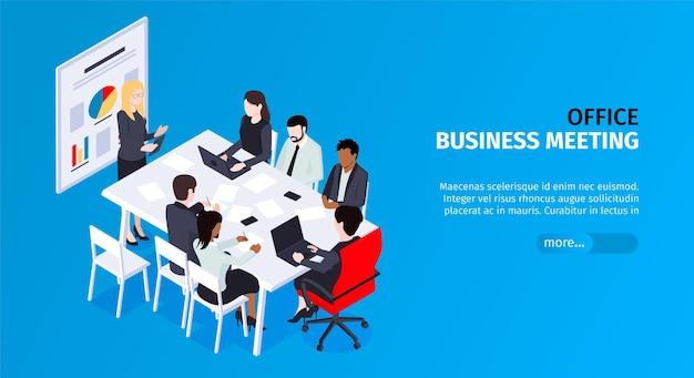 Bannière horizontale d'hommes d'affaires isométrique avec groupe de collègues lors de la réunion