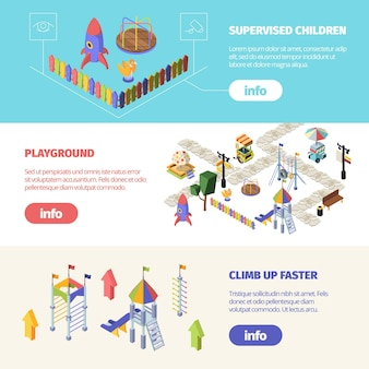 Bannière horizontale isométrique des aires de jeux pour enfants