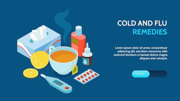 Bannière horizontale isométrique du virus de la grippe froide