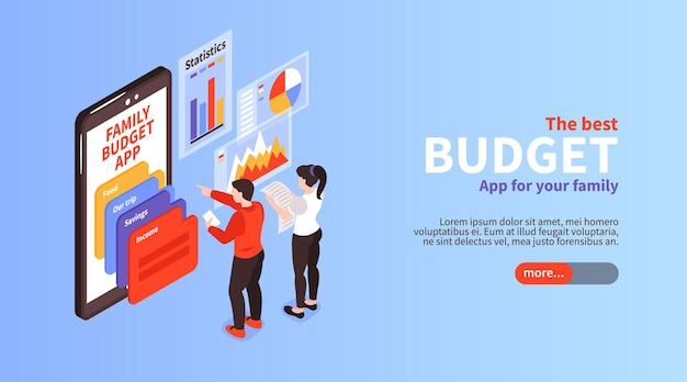 Bannière horizontale isométrique d'informations sur l'application de planification de la répartition des revenus du budget familial avec écran du smartphone