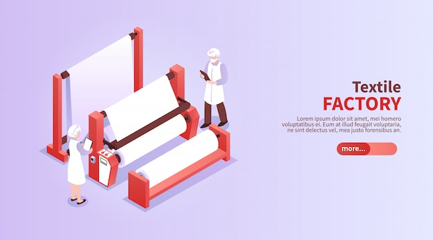 Bannière horizontale isométrique avec des travailleurs de l'usine textile et de l'équipement 3d