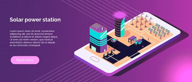 Bannière horizontale isométrique ville intelligente avec texte et images de sources d'énergie alternatives sur illustration vectorielle d'écran de téléphone