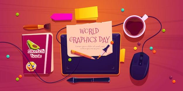 Bannière horizontale de la journée des graphismes du monde plat