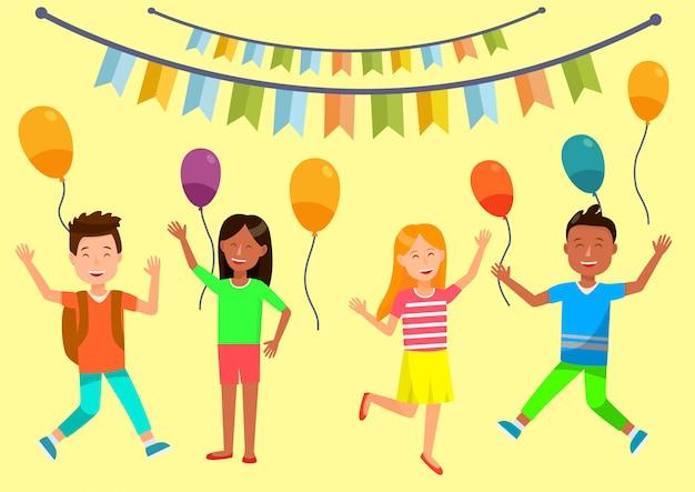 Bannière horizontale joyeux anniversaire. fête des enfants.