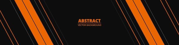 Bannière horizontale large abstraite noire avec des lignes oranges et grises