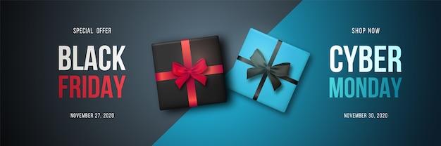 Bannière horizontale longue avec coffrets cadeaux pour vente black friday et cyber monday.