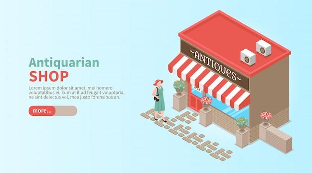 Bannière horizontale de magasin d'antiquaires avec une femme élégante venant à la vitrine pour faire l'achat vintage isométrique