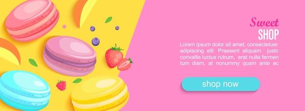 Bannière horizontale de magasin de bonbons avec des macarons et des baies