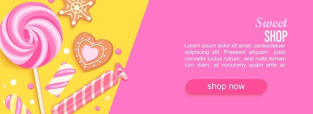 Bannière horizontale de magasin de bonbons avec marmelade de biscuits bonbons