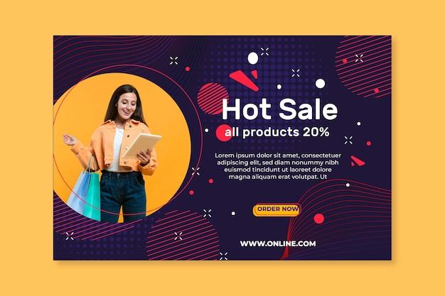 Bannière horizontale de magasinage en ligne