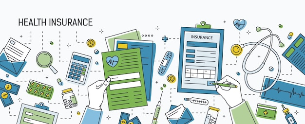 Bannière horizontale avec les mains remplissant le formulaire d'assurance maladie entouré de billets et de pièces en dollars, de pilules et d'autres médicaments, d'outils médicaux. illustration vectorielle colorée dans le style d'art en ligne.