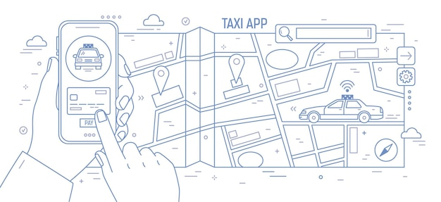 Bannière horizontale avec les mains tenant le smartphone, le plan de la ville et la voiture de taxi dessiné avec des lignes de contour sur fond blanc