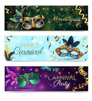 Bannière horizontale de masque de carnaval réaliste sertie d'illustration de carnaval de venise mardi gras