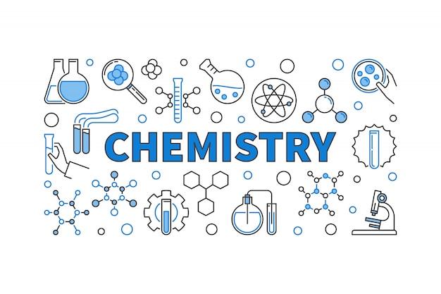 Bannière horizontale moderne de chimie concept