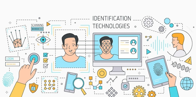 Bannière horizontale avec outils technologiques de reconnaissance faciale, logiciel de numérisation d'empreintes digitales, vérification et identification de la personne