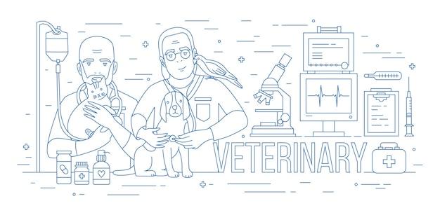 Bannière horizontale avec paire de vétérinaires tenant chien, chat et perroquet