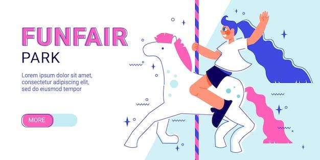 Bannière horizontale de parc d'attractions de fête foraine avec curseur plus de texte modifiable de bouton et personnage de fille équitation licorne