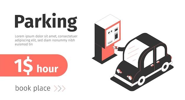 Bannière Horizontale De Parking Vecteur gratuit