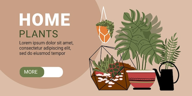 Bannière horizontale de plantes à la maison