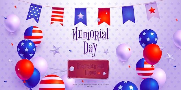Bannière horizontale plat usa memorial day