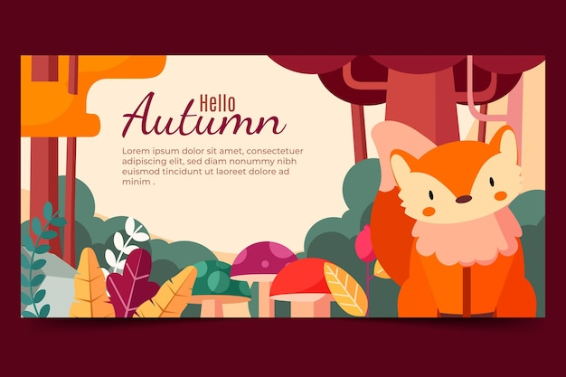 Bannière horizontale plate automne