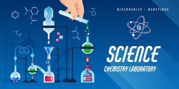 Bannière horizontale plate avec équipement de laboratoire