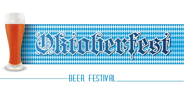Bannière horizontale pour l'oktoberfest. verre de bière sur fond blanc et bleu. conception de festival de bière.