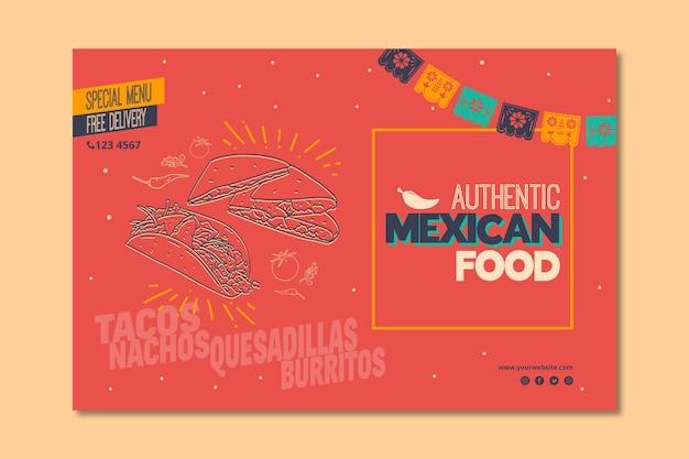 Bannière horizontale pour restaurant de cuisine mexicaine