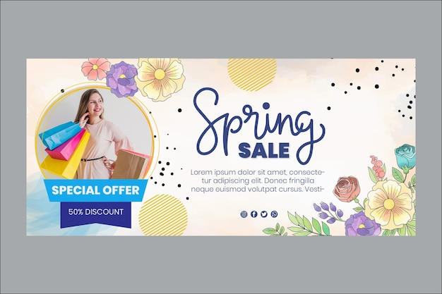 Bannière horizontale de printemps aquarelle