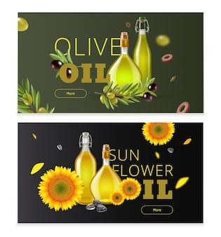 Bannière horizontale de produit pétrolier réaliste sertie de titres d'huile d'olive et d'huile de tournesol