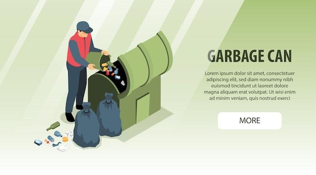 Bannière horizontale de recyclage des déchets isométrique avec caractère humain, laissant tomber la litière dans une boîte avec du texte