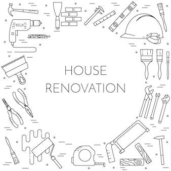 Bannière horizontale de remodelage de la maison. elément pour entreprise de réparation, construction ou rénovation.
