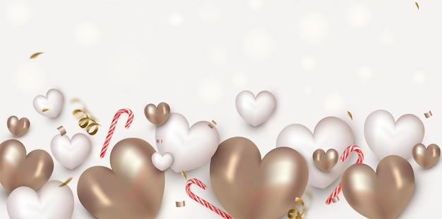 Bannière horizontale de la saint-valentin avec de jolis coeurs d'air blanc et or, des sucettes, des décorations.