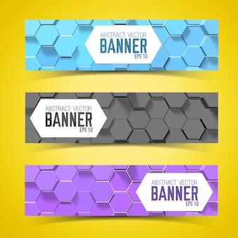 Bannière horizontale sertie de motif hexagonal