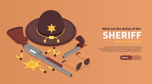 Bannière horizontale de shérif isométrique