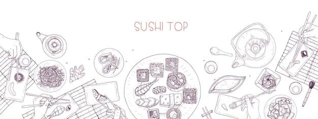 Bannière horizontale avec table pleine de plats japonais et mains tenant des sushis, des sashimis et des rouleaux avec des baguettes dessinées avec des lignes de contour