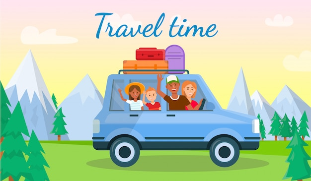 Bannière horizontale de temps de voyage.