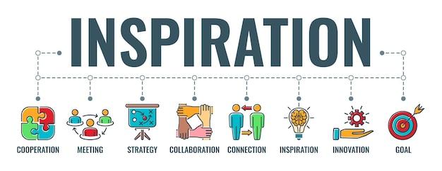 Bannière horizontale de travail d'équipe ou d'inspiration
