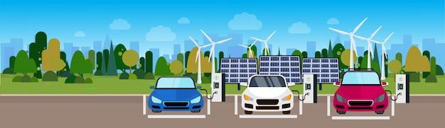 Bannière horizontale de véhicules écologiques chargeant à la gare des turbines à vent et des batteries de panneaux solaires
