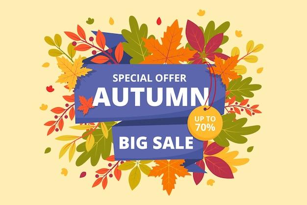 Bannière horizontale de vente automne plat