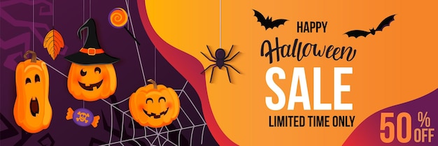 Bannière horizontale de vente d'halloween avec des citrouilles monstres invitant au shopping avec de grosses remises. modèle pour le web, affiche, flyers, annonce, promotions, blogs, médias sociaux, marketing. illustration vectorielle.