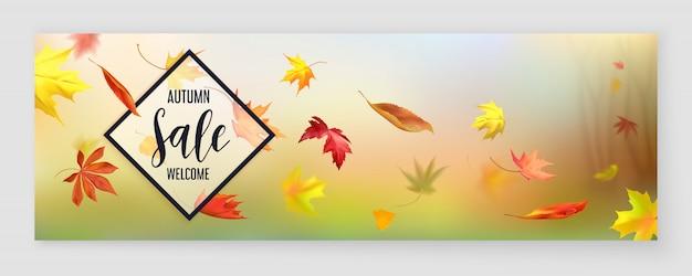 Bannière horizontale de vente de saison d'automne