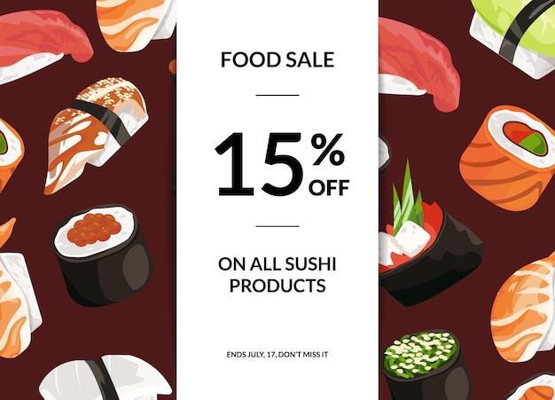 Bannière horizontale de vente sushi dessin animé