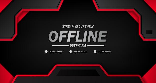 Bannière hors ligne twitch pour les jeux ou la diffusion en direct sur fond noir