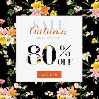 Bannière hortensia vente d'automne pour offre de réduction