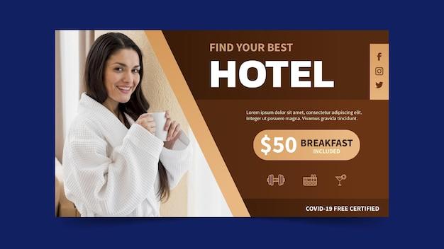 Bannière d'hôtel dégradé avec photo
