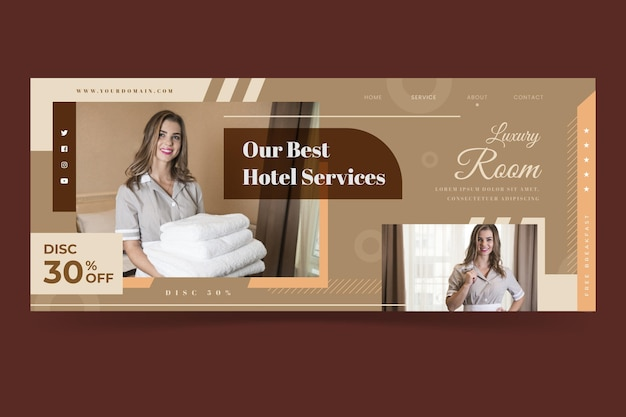 Bannière d'hôtel design plat avec photo