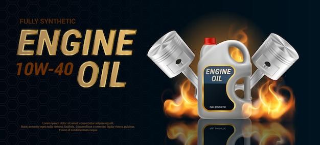 Bannière d'huile moteur avec deux pistons et bidon en plastique